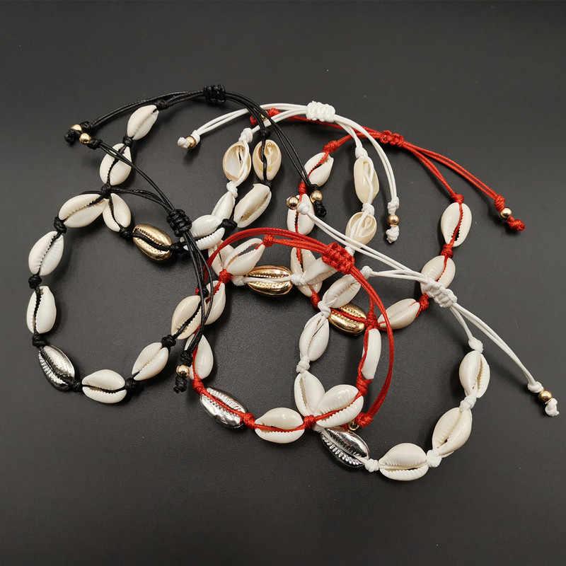 Bohemian Sea Shell Conch Anklets สำหรับผู้หญิงสร้อยข้อมือเท้าสีแดงทองโชคดีสร้อยข้อมือเท้าข้อเท้าสร้อยข้อมือเครื่องประดับ