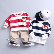 New Spring Autumn Infants Clothing Kid Cartoon Striped T-shirt Pants 2Pcs/Sets Children Cotton Tracksuit Baby Boys Girls Clothes стоимость