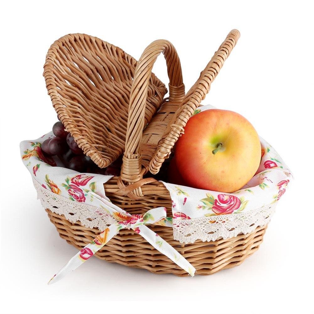 Lovely Weben Ablagekorb Rattan Handarbeit Obst Essen Veranstalter Brot Körbe Handarbeit Ordnung & Aufbewahrung