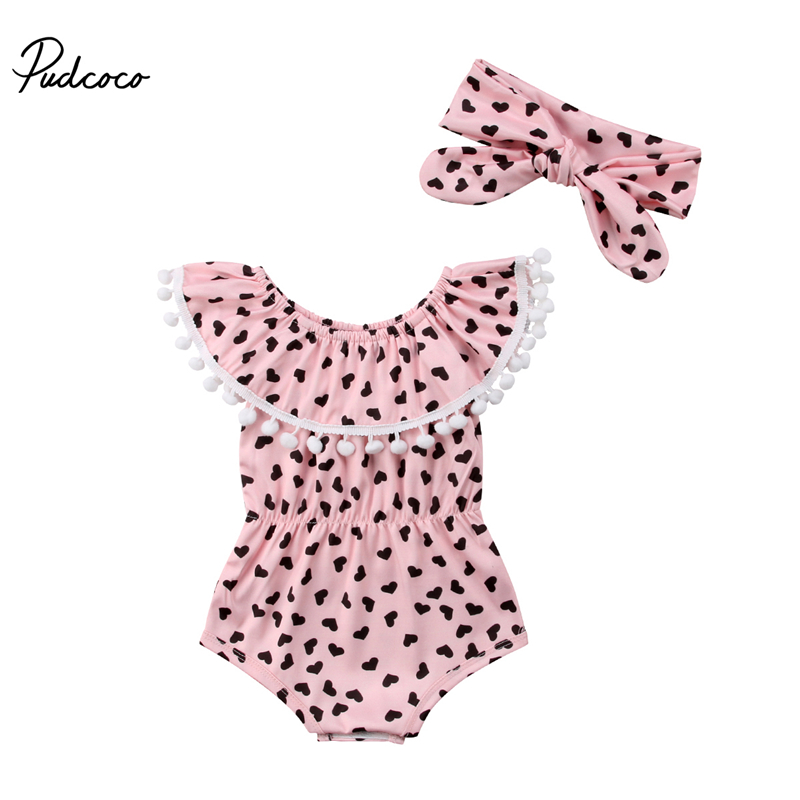 Baby Girl Cotton Romper+headband 2pcs Newborn Baby Girl Fly-sleeve Romper Watercolor Heart Printed Jumpsuit Outfits Summer 0-18m Bodysuits & One-pieces