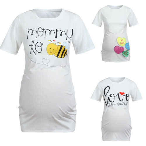 2019 การตั้งครรภ์ผ้าฝ้าย T เสื้อแขนสั้นฤดูร้อน T เสื้อน่ารักตลกผู้หญิงตั้งครรภ์เสื้อฝักบัวอาบน้ำด้านบน Love bee