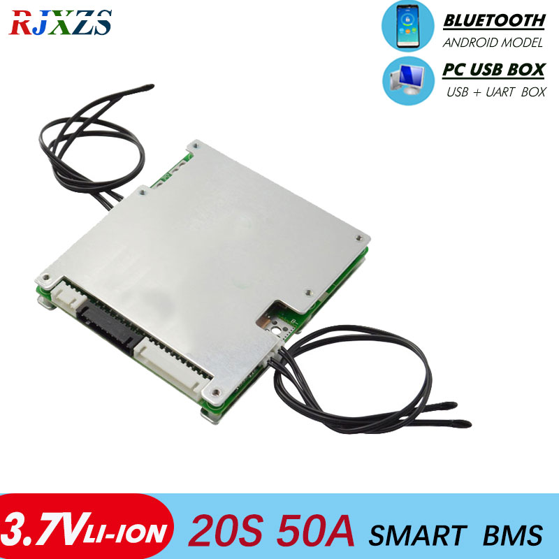 smart bms 20S 50A lithium ion bluetooth Li ion smart bms pcm with android Bluetooth app UART  bms wi software (APP) monitor-in Integrated Circuits from Electronic Components & Supplies    1
