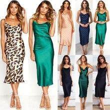 Ladies Sexy Leopard Print Satin Nightdress Sleeveless Nighties V neck Nightgown Plus Size Nightdress Sleepwear Nightwear