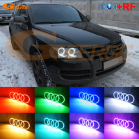 For Volkswagen VW Touareg 2004 2005 2006 2007 HALOGEN HEADLIGHT RF Bluetooth Controller Multi Color RGB led angel eyes kit