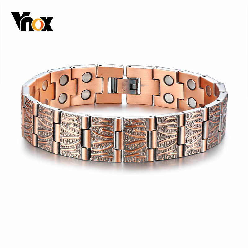 Vnox Stylish Double Row Magnets Red Copper Bracelets 15MM Healthy Magnetic Bio Energy Link Chain Pulsera Masculina 8.6""
