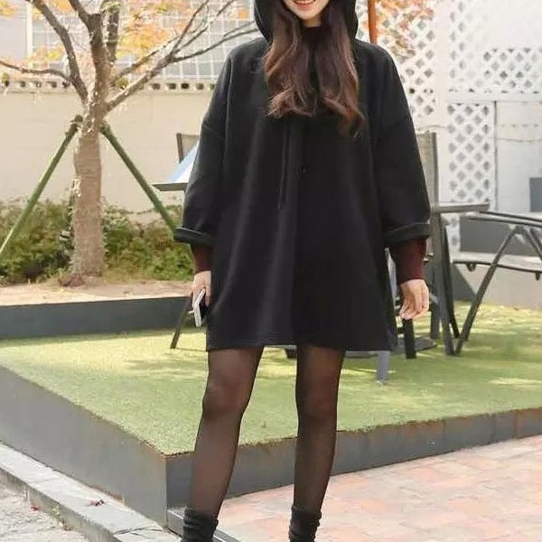 Women Autumn Loose Coat Hooded Pullover Long Sleeves Oversize Casual Female Tops -MX8