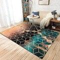 DeMissir зеленый черный постепенное цвет ковры 3D геометрические решетки печатные флисовые ковры для спальни гостиной tappeto vloerkleed