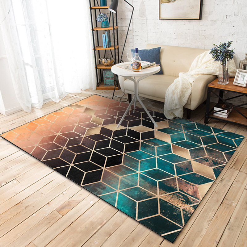 DeMissir Green Black Gradual Color Carpets 3D Geometric Lattice Printed Flated Rugs For Bedroom Living Room Tappeto Vloerkleed