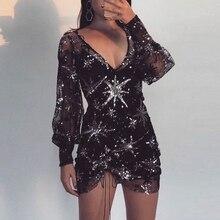 71fb8f7806 Frauen kleider Glitter Reflektierende Sexy sommer schwarz Lange Ärmel  Tiefen V-ausschnitt Transparent Prom mantel
