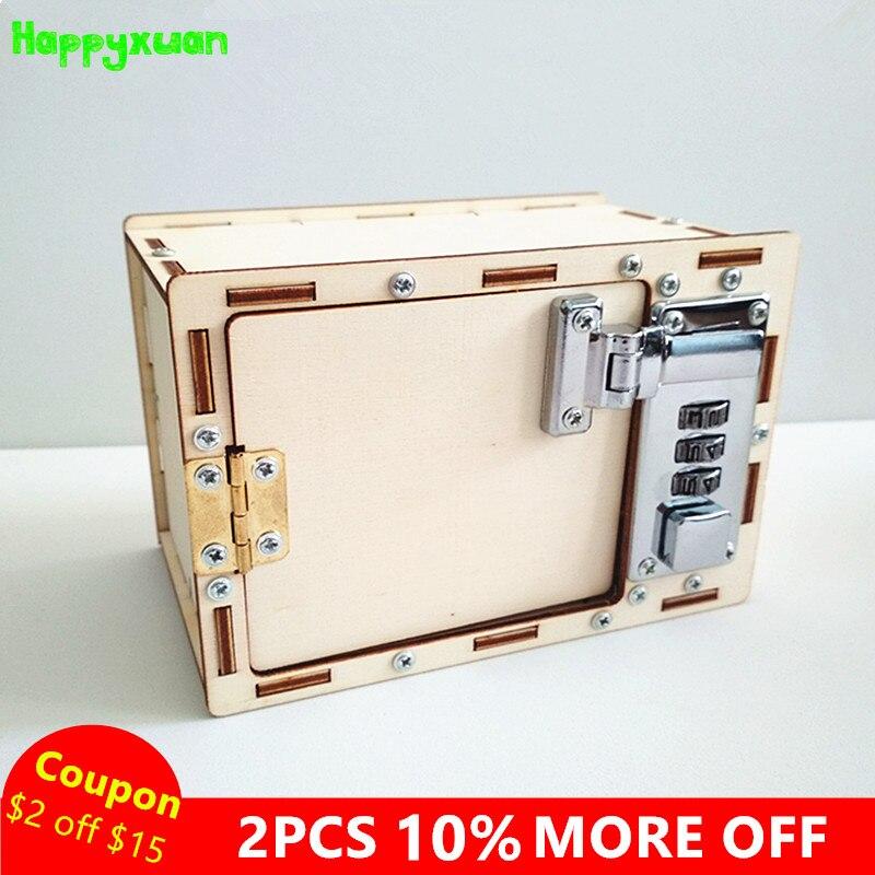 Happyxuan mecánica contraseña caja niños DIY proyectos de ciencia experimento Kits juguete invención de la innovación 2018 enseñanza creativa