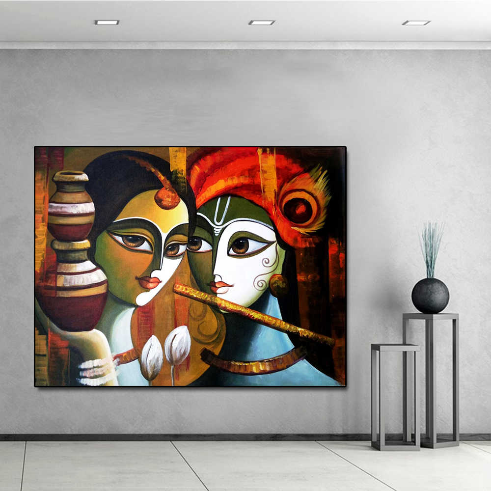 Buddha Radha Krishna True Love Print Canvas Oil Painting Posters and Prints Wall Art Picture for Living Room Home Decor No Frame
