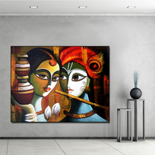 Buddha Radha Krishna True Love Print Canvas Oil Painting Posters and Prints Wall Art Picture for Living Room Home Decor No Frame radha