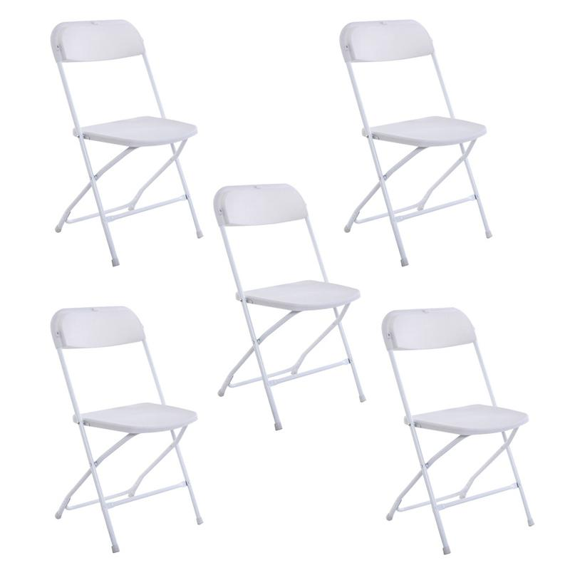 5pcs Portable Folding Dining Chairs Backrest Outdoor Patio Chair Indoor Dining Garden Party Beach Camping Chair