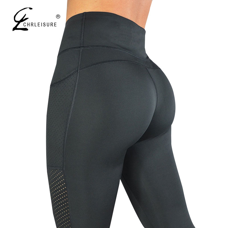 CHRLEISURE High Waisted Legging Women Legging Solid Pocket Leggings Breathable Feminina Fitness Leggings S-L