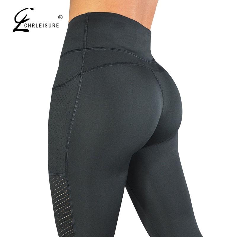 CHRLEISURE High Waisted Legging Women Legging Solid Pocket Leggings Breathable Feminina Fitness Leggings S-L