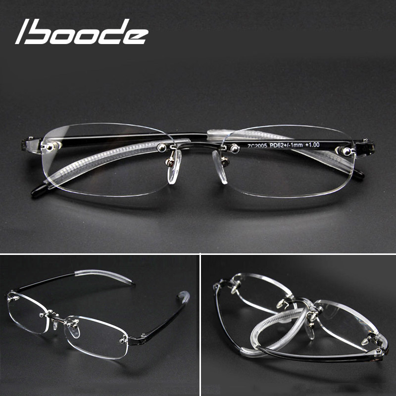Iboode Rimless Finished Myopia Glasses Frame Women Men TR90 Short Sight Nearsighted Eyewear Optical Eyeglasses Diopters -1.0~4.0