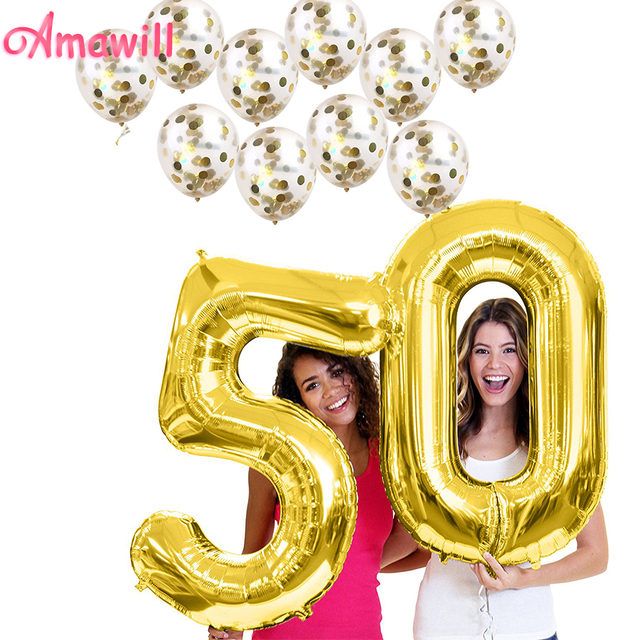 Amawill 50 Years Birthday Decorations Gold 40inch Number Foil Balloon 10pcs Latex Confetti Balloons Adult 50th Party 6D