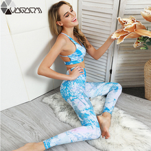 Summer Women Gym 2 Piece Yoga Suit Cloud Printed Fitness Womens Mujer Running Bra+leggings Workout Wear