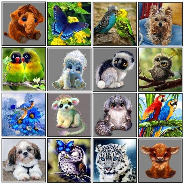 Tự làm 5D Tranh Gắn Đá hình động vật hình tròn khảm trang trí nhà thêu họa tiết thêu tay quà tặng năm mới