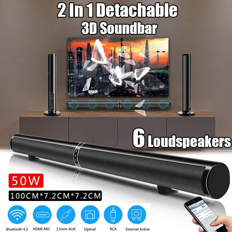 50 W Détachable bluetooth sans fil Soundbar haut-parleur graves 3D Surround Stéréo TV Home Cinéma Portable/Ordinateur/PC Mur Subwoofer