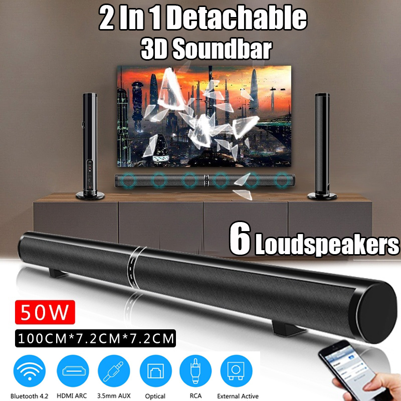 50W Detachable Wireless bluetooth Soundbar Bass Speaker Stereo Support RCA AUX HDMI Home Theatre Computer/PC Wall Subwoofer