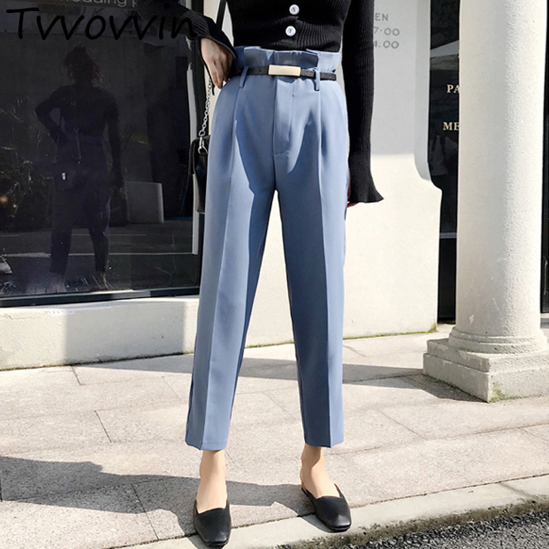 Streetwear Solid Harem   Pants     Capri   Ruffle Loose Casual   Pants   Women 2019 Autumn Trousers High Waist   Pants   with Sashes L374