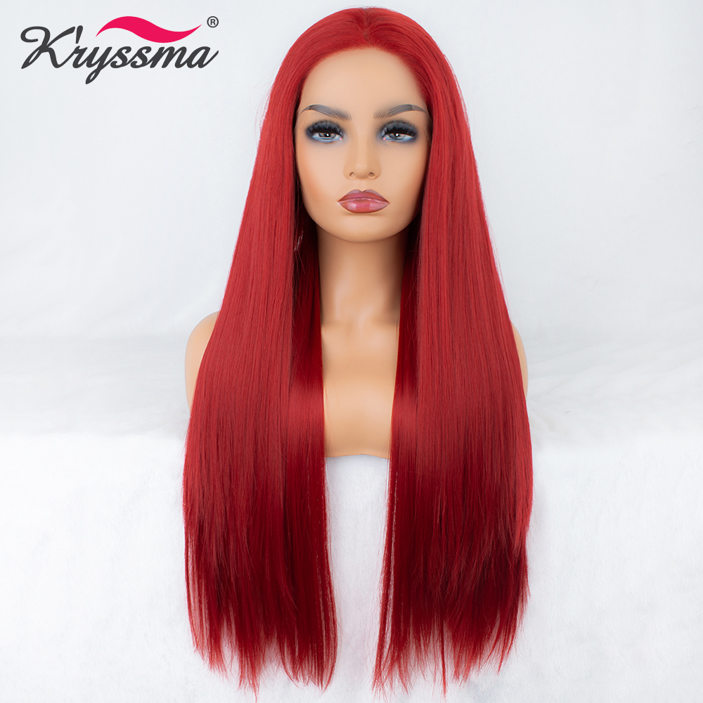 Long Red Wig Natural Straight Synthetic Lace Front Wig Long Wigs for Women 24 Inches Free