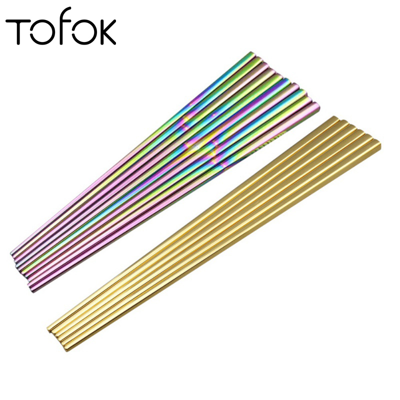 Flatware Open-Minded Tofok Chopsticks 304 Mirror Polished Stainless Steel Titanium Plating Gold Chop Sticks Sushi Hashi Food Sticks Tableware Cutlery We Have Won Praise From Customers Home & Garden
