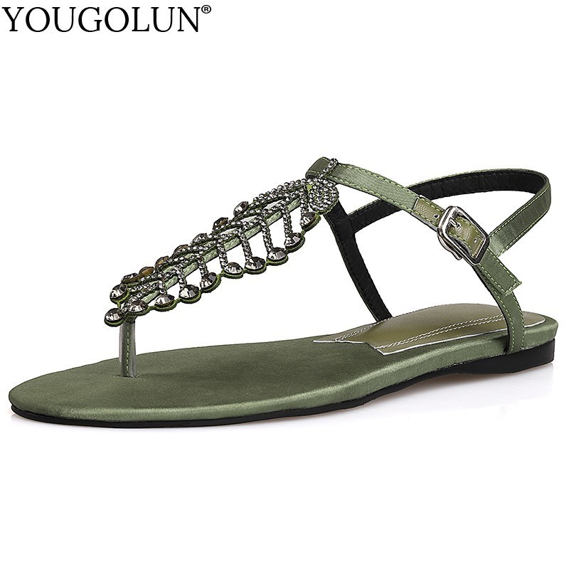 Women Summer Sandals Ladies 2019 New Casual Bohemia Clip Toe Flat Crystal Leaf Sandal Woman Black