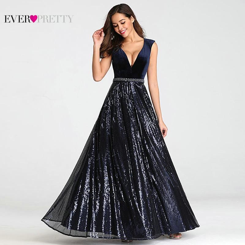 Vestidos De Festa Ever Pretty Elegant A Line V Neck Velvet Sparkly Beaded Long Formal Party   Dresses   2019 Sexy   Prom     Dresses
