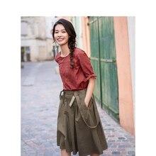INMAN letnia wysoka talia wąska w stylu Retro koreański styl studencki pasuje do wszystkiego A line damska spódnica z paskiem