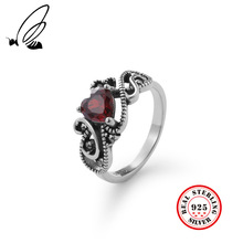 High Quality 100% 925 Sterling Silver Vintage Red Heart Zircon Ring Elegant Ring Bijou Rings For Women Fine Jewelry For Party ska brand monaco pearls ring women 925 sterling silver rings for women inlaid zircon moon trendy party fine jewelry a18603xpl