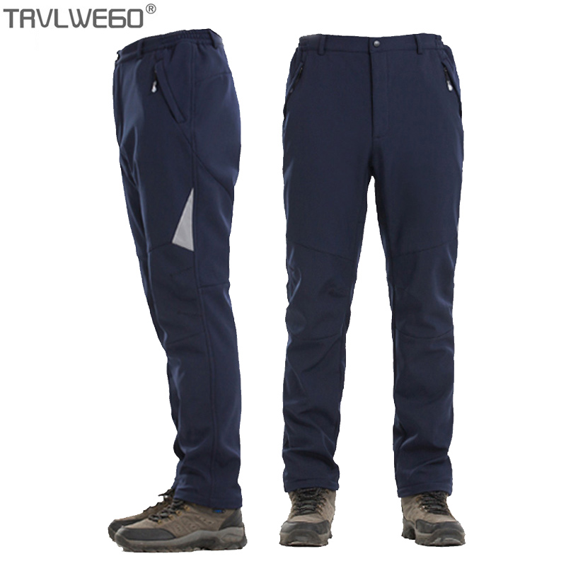 Trvlwego Males's Winter Tenting Climbing Out of doors Sports activities Journey Water Repellent Thermal Inside Fleece Pants Male Clothes Windproof