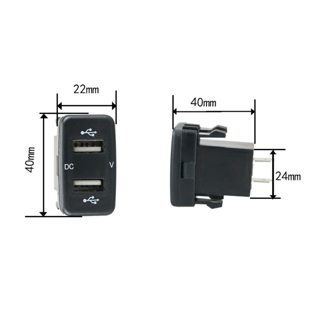4.2A Car Charger Socket Dual USB Port Charging Volt Display Adapter for Toyota Dual USB Car Charger Socket Outlet Adpater Port