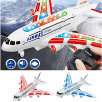 Kids RC Remote Control Airplane Toy Plane A380 Airbus w/ Flashing Light & Jet Engine Sound Great Gift for boys & girls 2Set