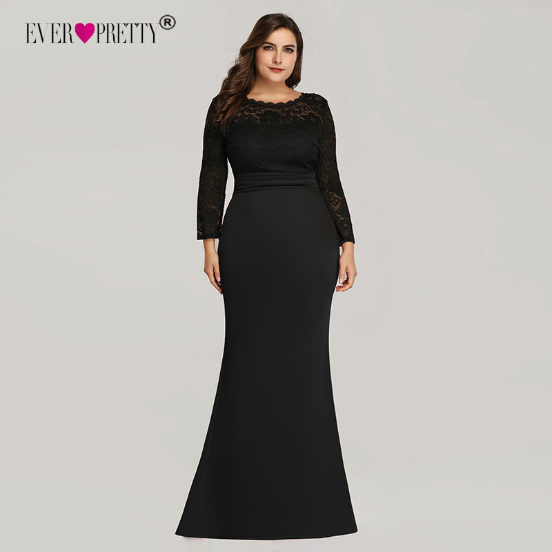Ever Pretty Evening Dresses Long 2019 Black Mermaid Long Sleeve Lace Winter Autumn Satin Elegant Long Party Gowns For Wedding