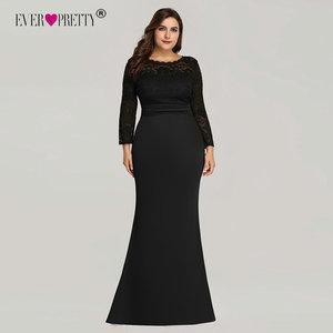 Image 1 - Kiedykolwiek ładne suknie wieczorowe długie 2020 czarna syrenka z długim rękawem koronkowa zimowa jesień satynowa elegancka, długa sukienki na przyjęcie na ślub