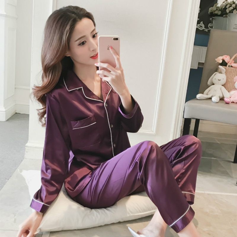 2019 Summer Women Satin Slik Loose Brief Pyjama Long Sleeve   Pajamas     Sets   With Pants Female Plus Size 5XL Soft Elegant 2 Pieces P