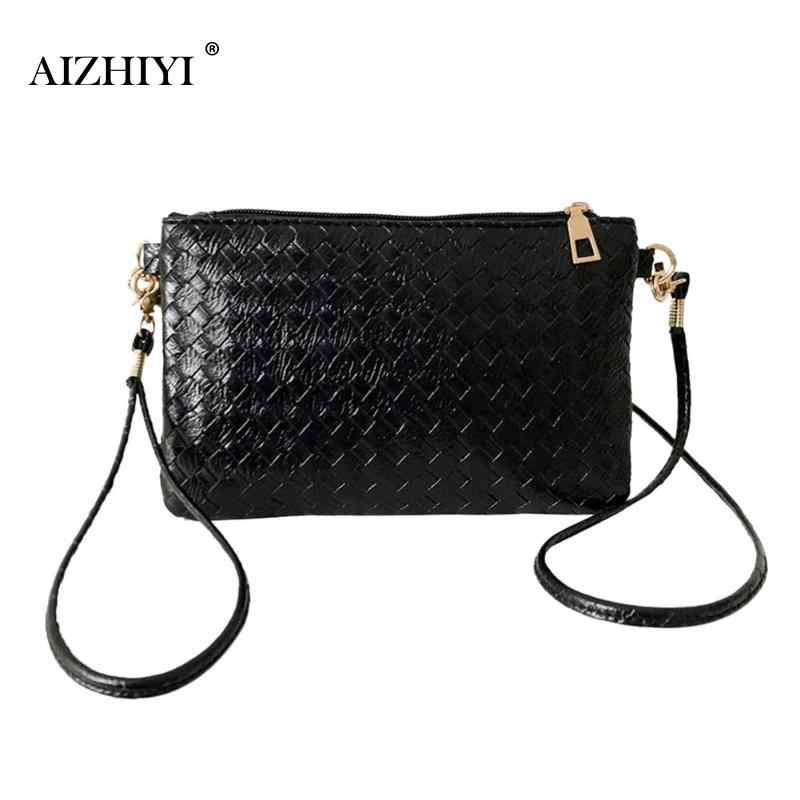 4262a59ef0eb Women Plaid Shoulder Messenger Bag Girls Black PU Leather Handbag Female  Ladies Casual Crossbody Sling Bags