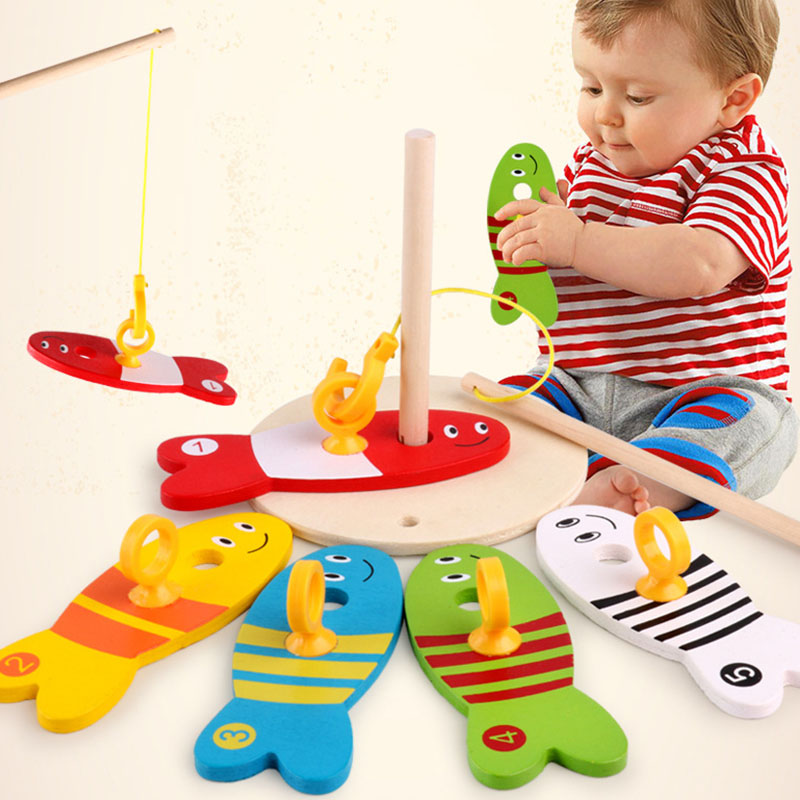 8Pcs Montessori Materials Educational Stories Learning Wooden Toys For Children Puzzle Fishing Digital Column Funny Kid Toy Gift