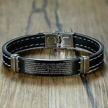 """גברים של נירוסטה אדון התפילה של התנ""""ך צמיד שחור גומי צמיד Armband עבור זכר ילד pulseira masculina תכשיטים"""