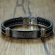 Mens Stainless Steel Lords Prayer Bible Bracelet Black Rubber Wristband Armband for Male Boy pulseira masculina Jewelry