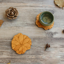 Tofok Water Lily Lotus Drink Coasters Mat Wooden Round Cup Table Mat Tea Coffee Mug Placemat Home Decoration Kitchen Accessories