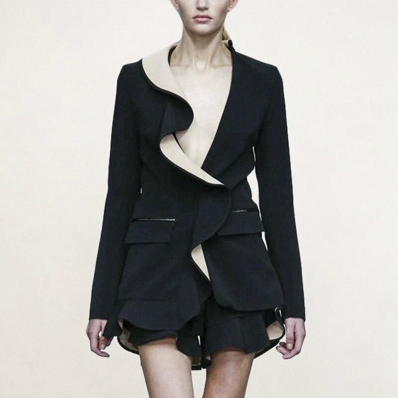 Femmes petit costume 2019 automne nouveau motif Lotus feuille bord Sexy V plomb à manches longues personnalité orthographe tissu lâche manteau femme