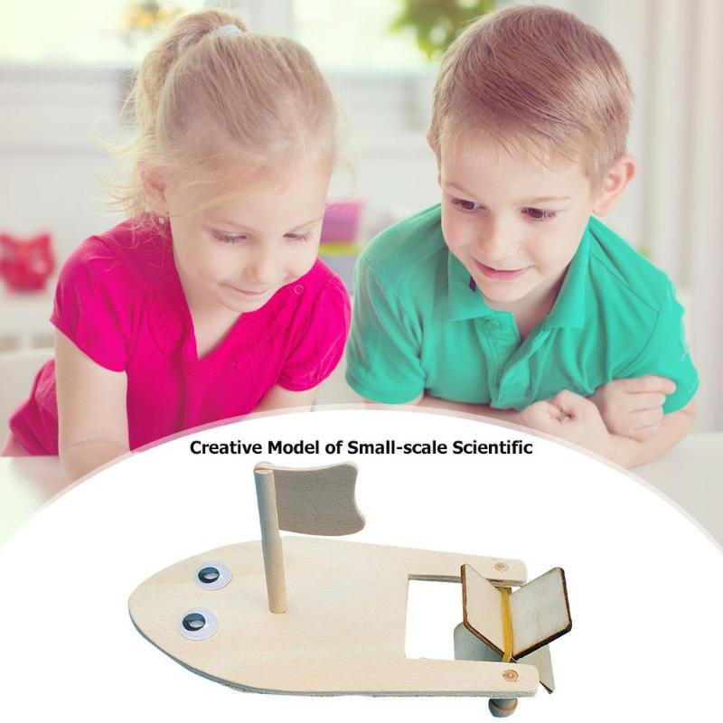 DIY Wooden Sailboat Model Kit Kids Assembling Building Kits Ship Model Physical Science Experiments Educational Kindergarten Toy