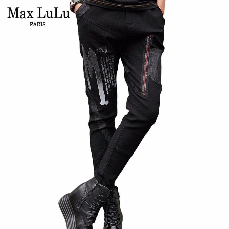 Max LuLu Spring Fashion Vintage Girls Elastic Harem Pants Korean Womens Black Skinny   Jeans   Ripped 3d Prined Woman Denim Trousers