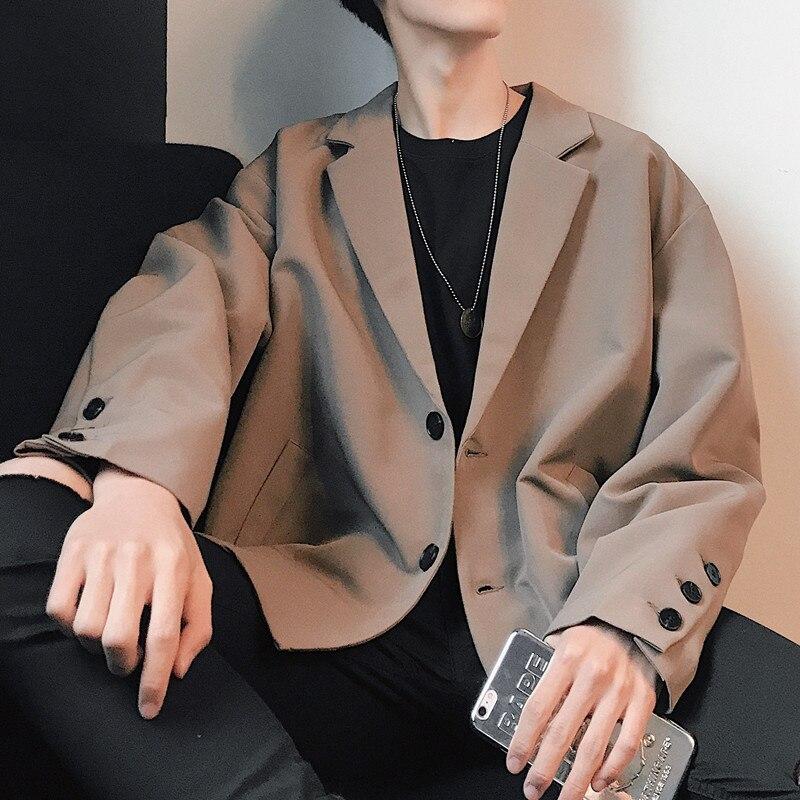 2019 Noir Beige Printemps Taille xl Rétro Coréenne Foncé Veste Chic Unique brun Costume Lâche Mâle M black Nouveau Simple QCrdtxBsh