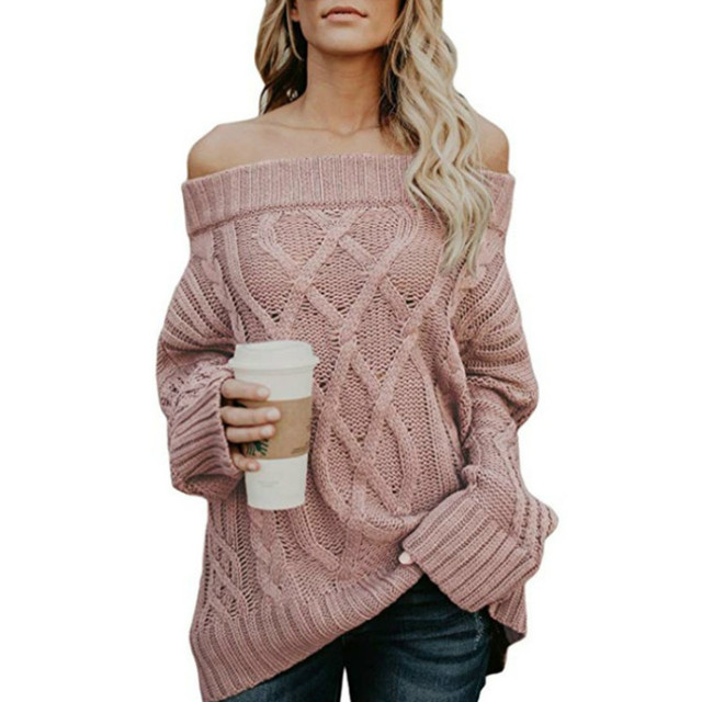 2018 Autumn and Winter New Sweater Autumn and Winter Warm Thick Thick Line Twist Off Shoulder Sweater Women