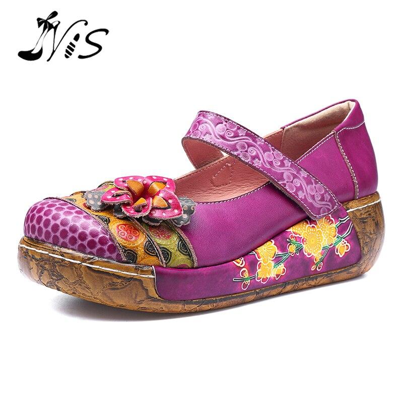NIS Genuine Leather Flats Women Flat Shoes Woman socofy Bohemian Vintage Style Casual Platform Ladies Shoes