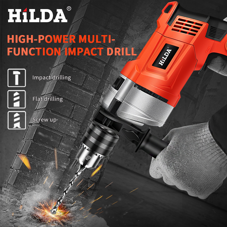 Image 2 - HILDA Impact electric drill Electric Rotary Hammer with BMC and 5pcs Accessories Impact Drill Power Drill Electric Drill-in Electric Drills from Tools on